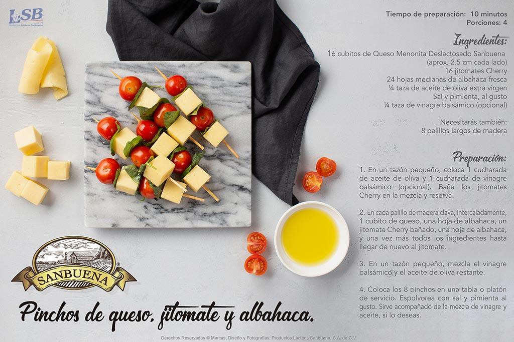 SANBUENA Premium Pinchos de queso, jitomate y albahaca